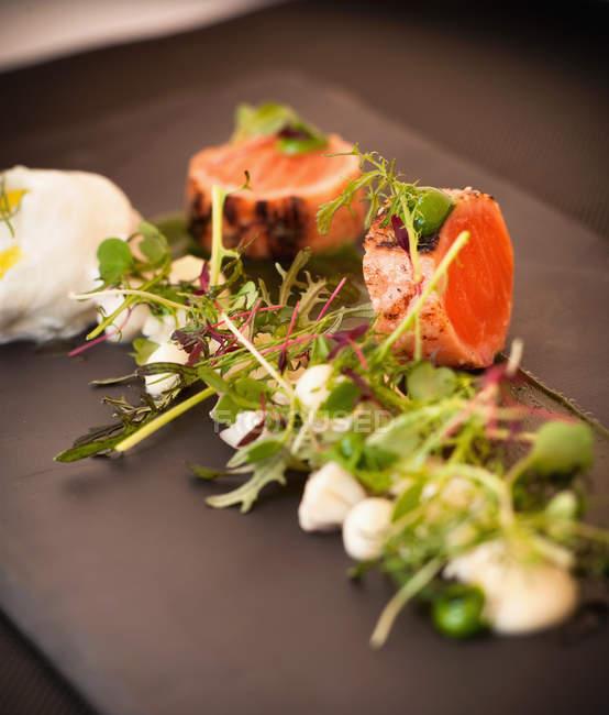Плита опалило лосося и салат — стоковое фото