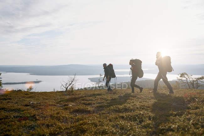 Туристы, путешествующие с рюкзаком в Лапландии, Финляндия — стоковое фото