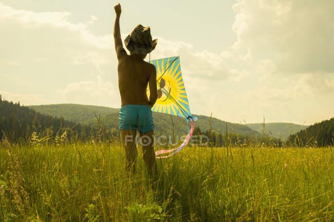 Rückansicht des jungen Drachen im ländlichen Bereich — Stockfoto
