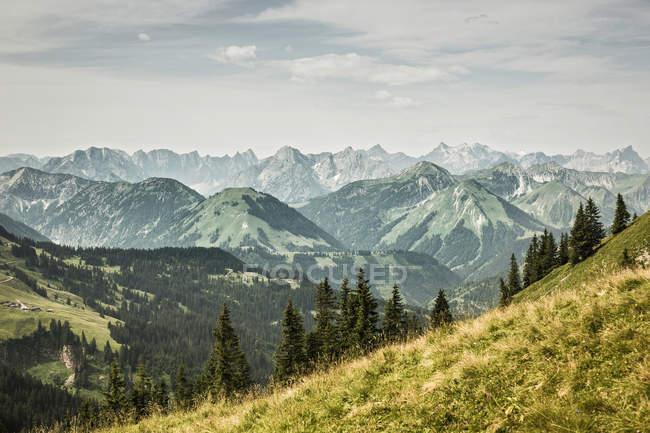 Montagnes enneigées et les collines herbeuses — Photo de stock