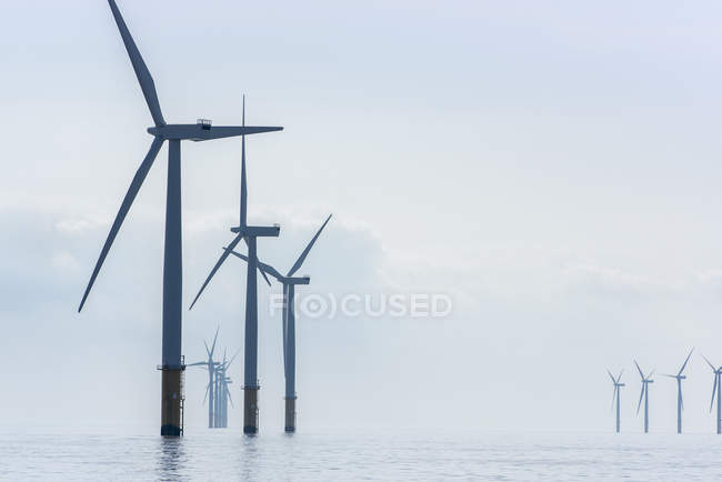 View of offshore windfarm from service boat — Stock Photo