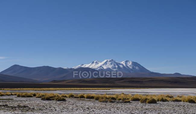 Vista panoramica della valle e montagne innevate lontane sotto cielo blu — Foto stock