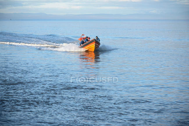 Rescue boat training at nautical training facility, front view — Stock Photo