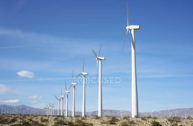 Ряд ветряных турбин — стоковое фото