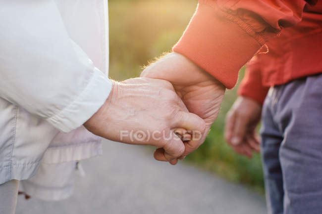 Senior pareja cogidos de la mano, cerrar - foto de stock