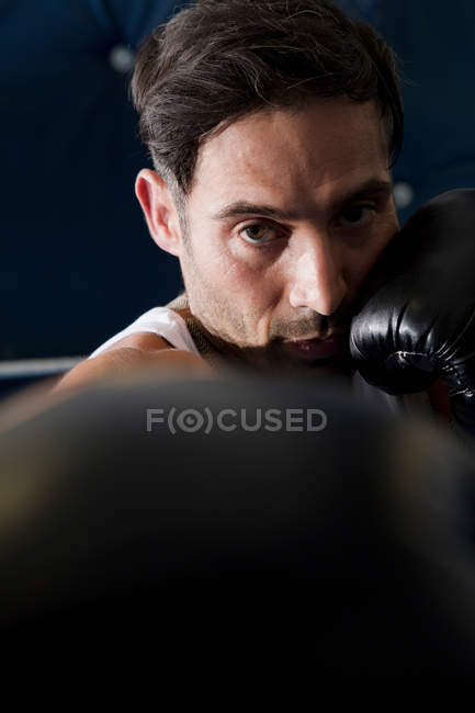 Boxer with raised fists in ring — Stock Photo