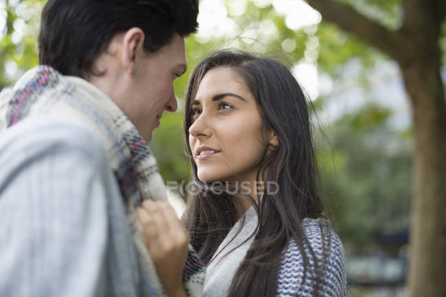 Young couple face to face — Stock Photo
