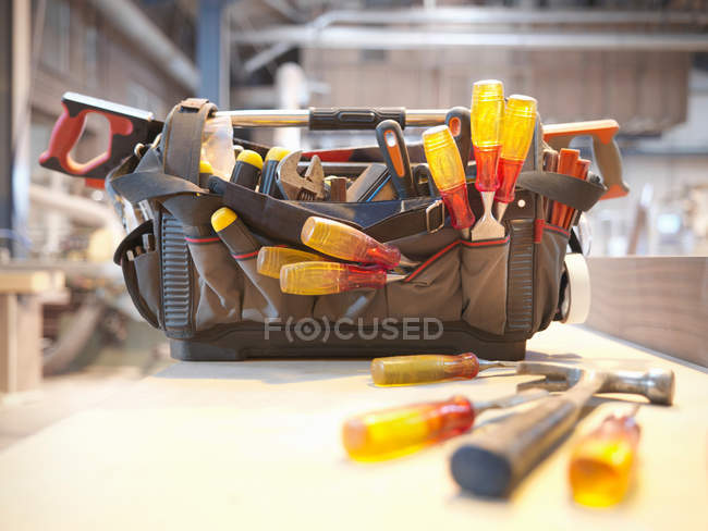 Close up of Tool kit in woodwork workshop — Stock Photo