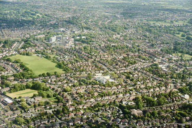 Aerial view of suburban housing in England, UK — Stock Photo