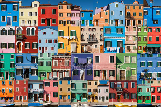 View of Collage of colorful buildings — Stock Photo