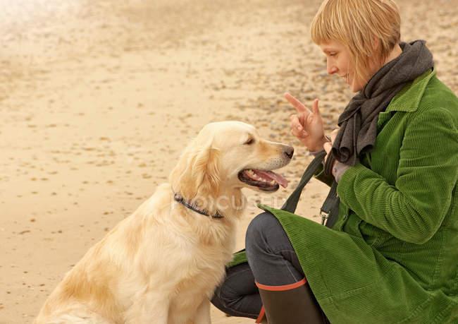 Chien d'entraînement femme sur la plage Automne Automne Automne — Photo de stock