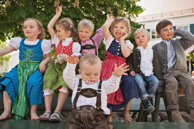 Children in traditional Bavarian clothes — Stock Photo