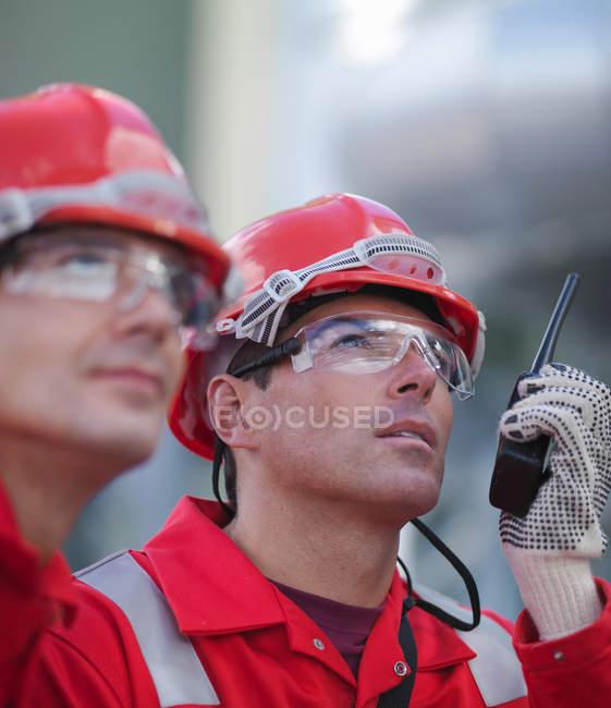 Workers at underground gas storage plant — Stock Photo