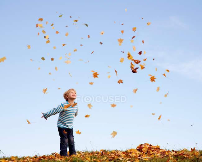 Мальчик бросает осенние листья в воздух — стоковое фото