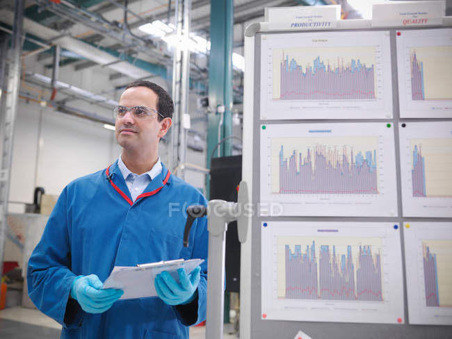 Factory worker with productivity graphs — Stock Photo