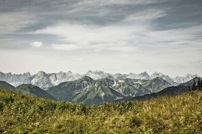 Verschneite Berge und Rasenflächen — Stockfoto