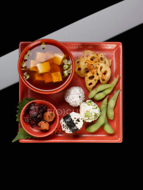 Top view of asian food served on plate — Stock Photo