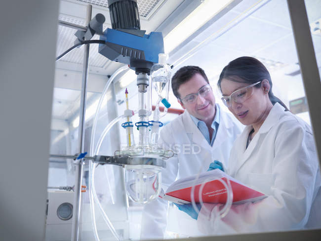 Female and male scientists with notebook inspecting experiment in laboratory — Stock Photo