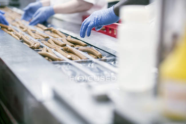 Cropped image of multicultural Factory workers on tofu sausages production line — Stock Photo