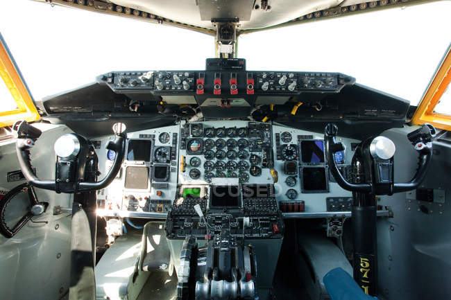 Cockpit of plane, close up — Stock Photo