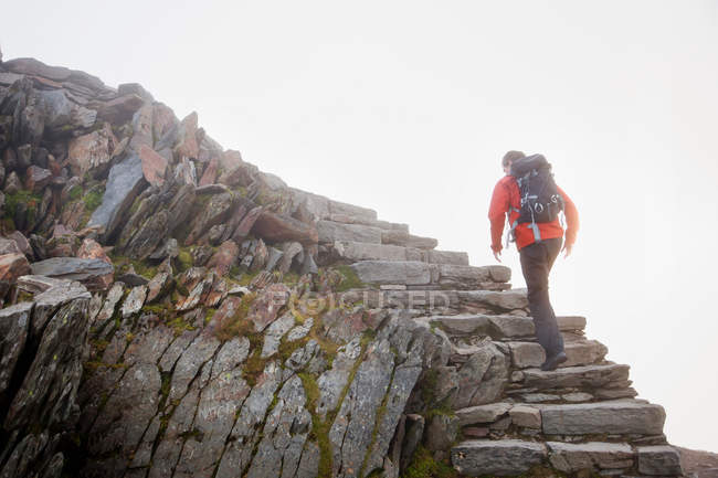 Wanderer besteigen felsige Stufen am Hang — Stockfoto