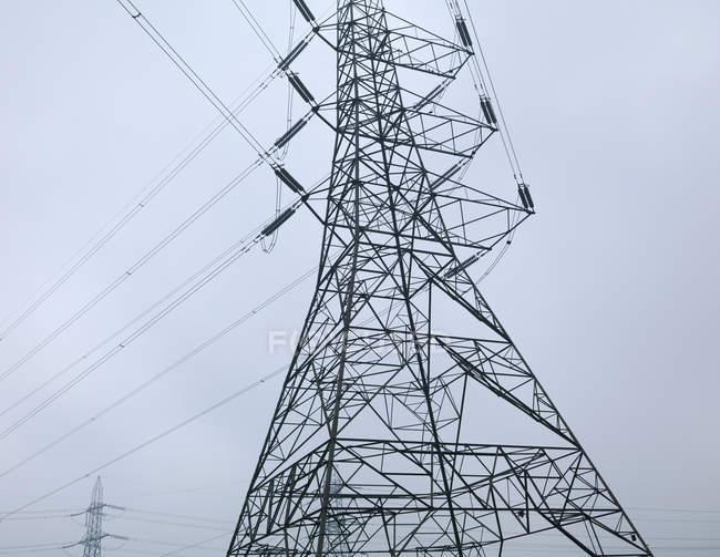 Низкий угол зрения линий электропередачи — стоковое фото