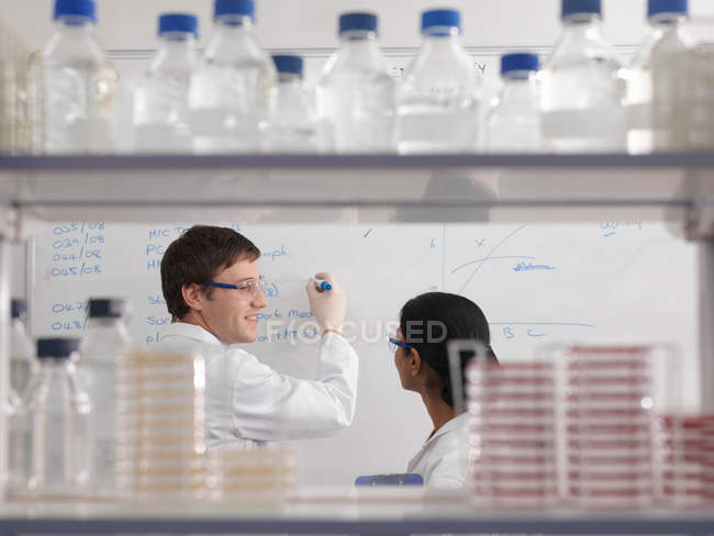Laboratory technicians and whiteboard — Stock Photo