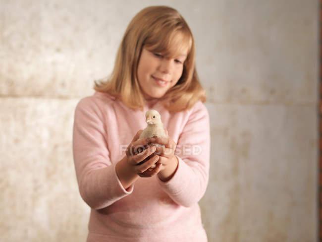 Mädchen Holding Chick auf dem Bauernhof — Stockfoto