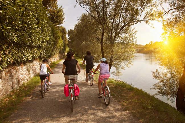 Семейные велосипеды на берегу реки — стоковое фото