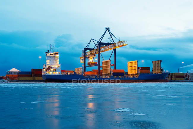 Containers on ship in harbour — Stock Photo