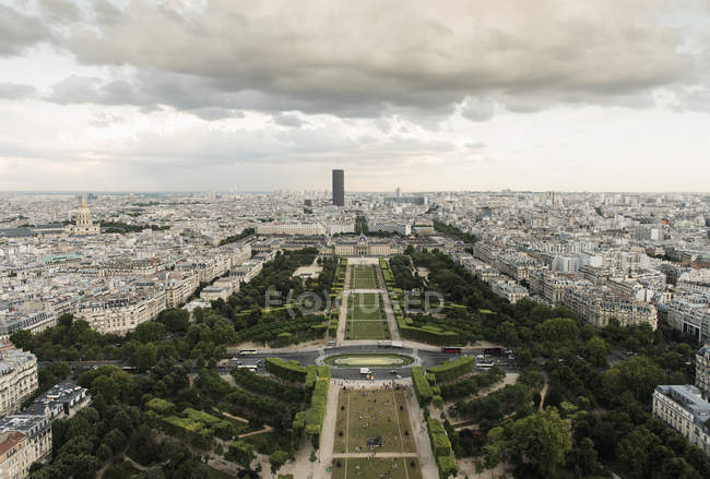 City view at cloudy day from top of Eiffel Tower, Paris, France — Stock Photo