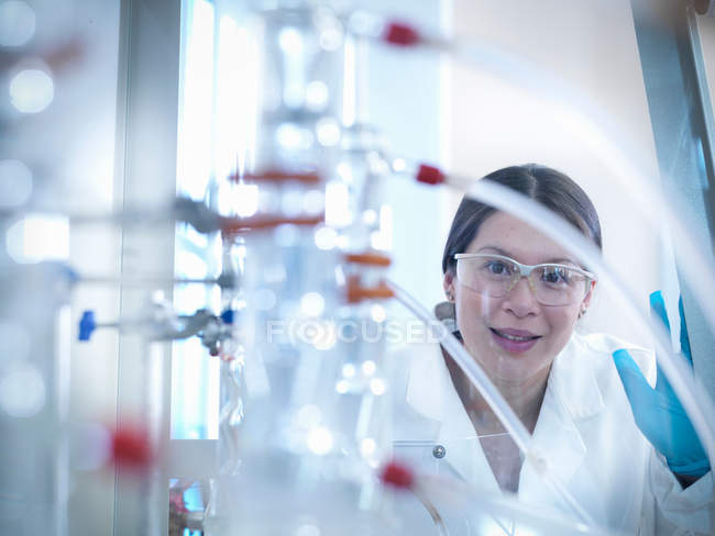 Female scientist with equipment in fume cupboard in laboratory, looking to camera — Stock Photo