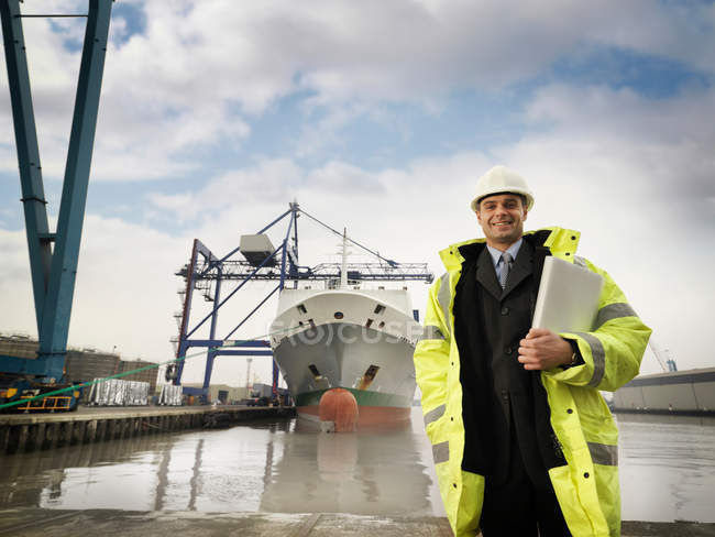 Businessman With Container Ship At Port — Stock Photo