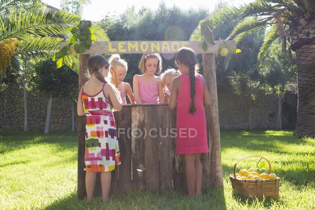 Cinq filles achetant et vendant de la limonade fraîche au stand de limonade dans le parc — Photo de stock