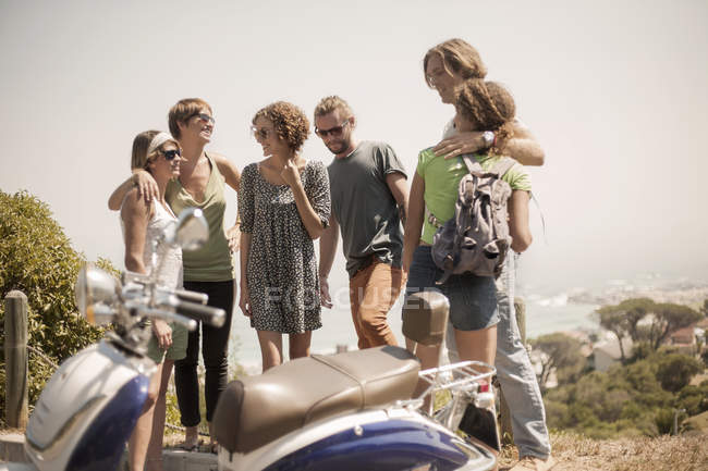 Group of friends standing together, outdoors — Stock Photo