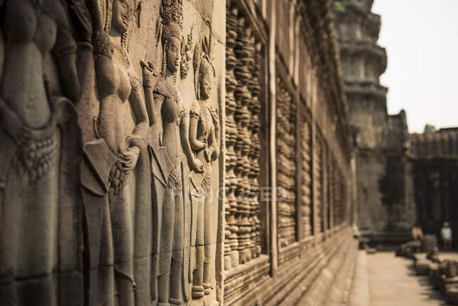 Reliefs on walls at Angkor Wat — Stock Photo