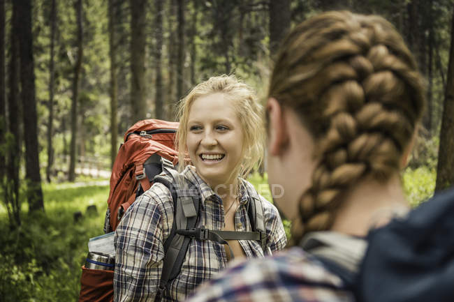 Over shoulder view of teenage girl and young female hikers in forest, Red Lodge, Montana, USA — Stock Photo