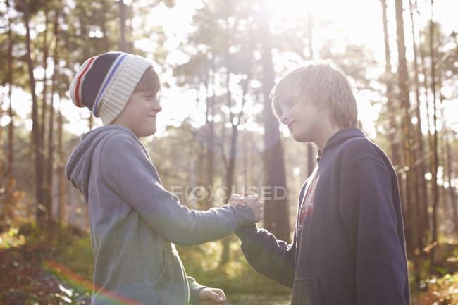 Zwillingsbrüder beim Händeschütteln im Wald — Stockfoto
