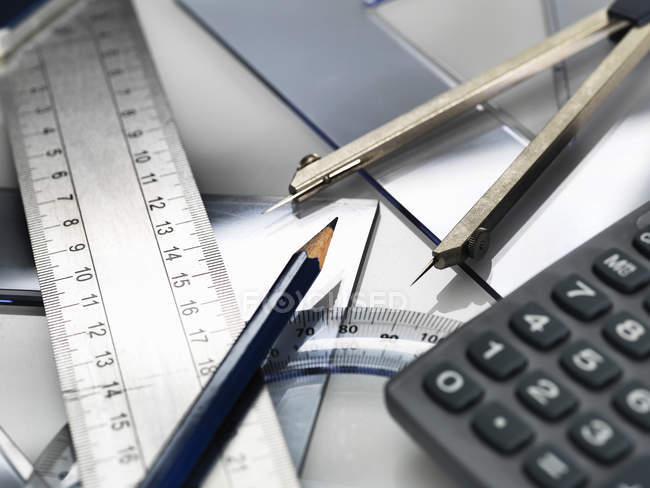 Close up of office supplies on table — Stock Photo