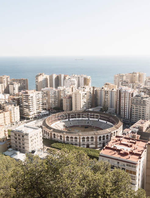 Elevated view of city Malaga at daytime, Spain — Stock Photo