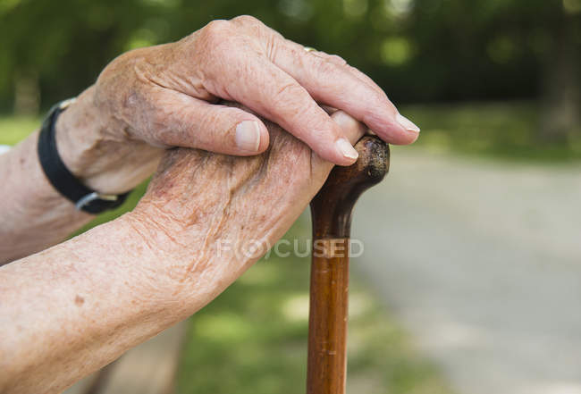 Senior woman's hands, holding walking stick — Stock Photo