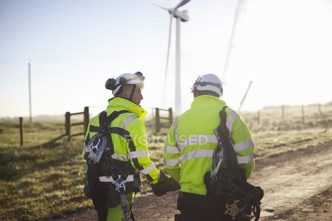 Два инженера на ветряной электростанции идут вместе, вид сзади — стоковое фото