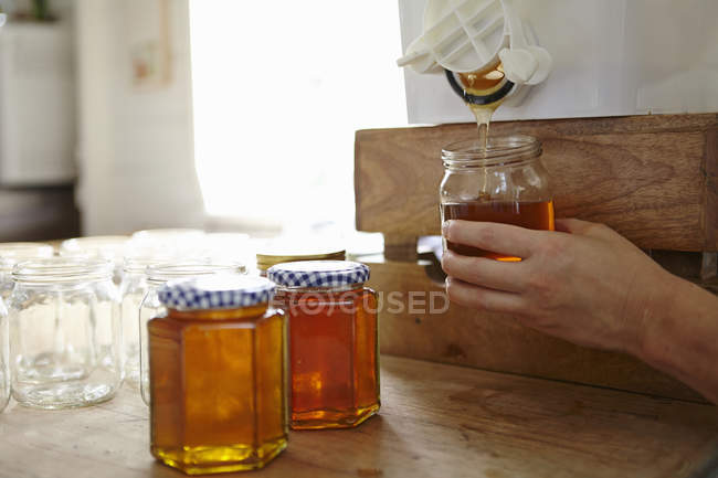 Hand of female beekeeper in kitchen bottling up filtered honey from beehive — Stock Photo