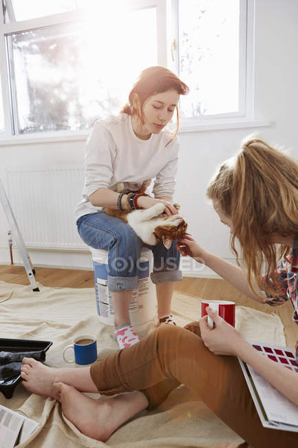 Two teenage sisters with color swatches, coffee and a cat — Stock Photo