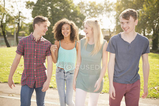 Four young adult friends strolling in park — Stock Photo