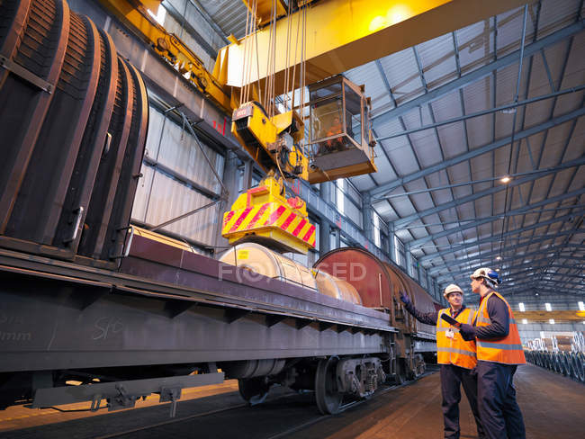 Port Workers Loading Cargo On To Train — Stock Photo