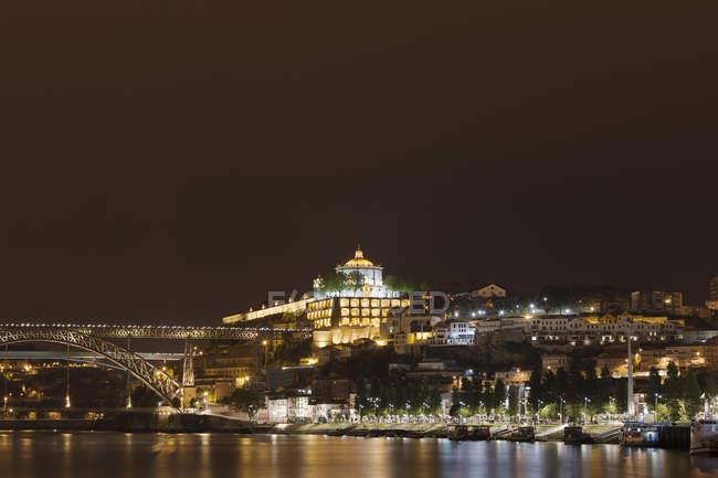 Veduta del ponte Dom Luis e del monastero di Serra do Pilar, Vila Nova de Gaia, Portogallo — Foto stock
