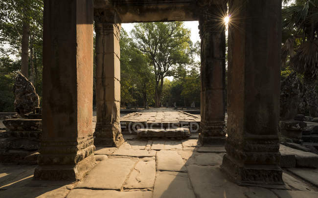 Terraza Oriental, Templo de Banteay Kdei, Angkor, Siem Reap, Camboya, Indochina, Asia - foto de stock