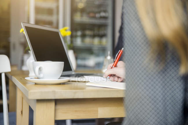 Young woman sitting in cafe, using laptop, rear view — Stock Photo