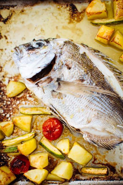 Verduras y pescado asado - foto de stock